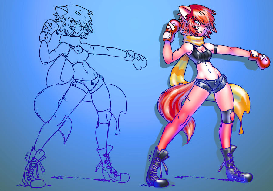 Boxing girl w/lineart by luigiix