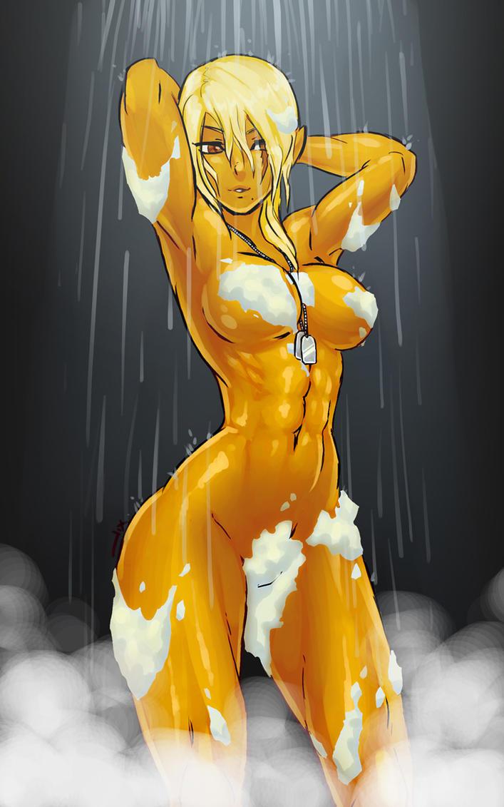 Mebius taking a bath by luigiix