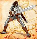 Warrior battle pose
