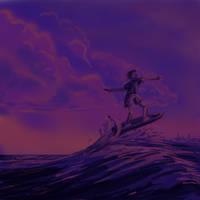 speed paint..surfer sunset by hotpinkscorpion