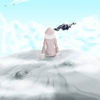 rock amidst clouds by hotpinkscorpion