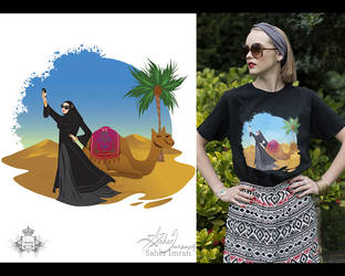 Lady in the Desert T shirt print by hotpinkscorpion