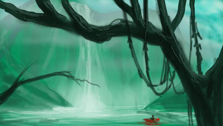 Viridian Falls and the Red Boat by hotpinkscorpion