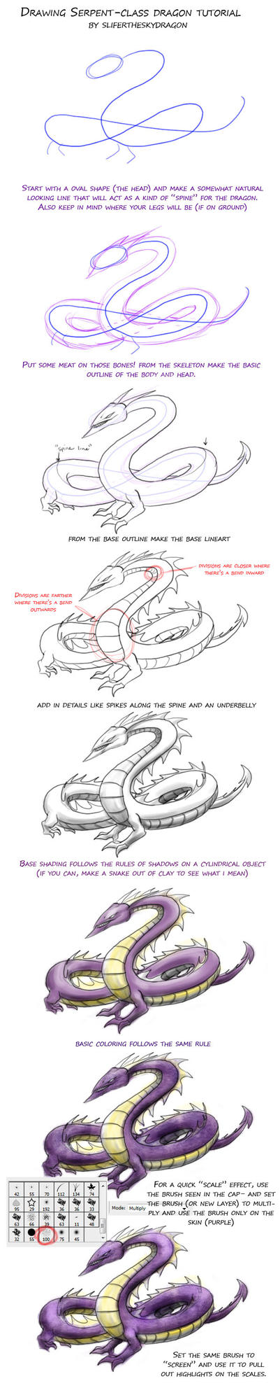 drawing snake type dragon TUT by slifertheskydragon