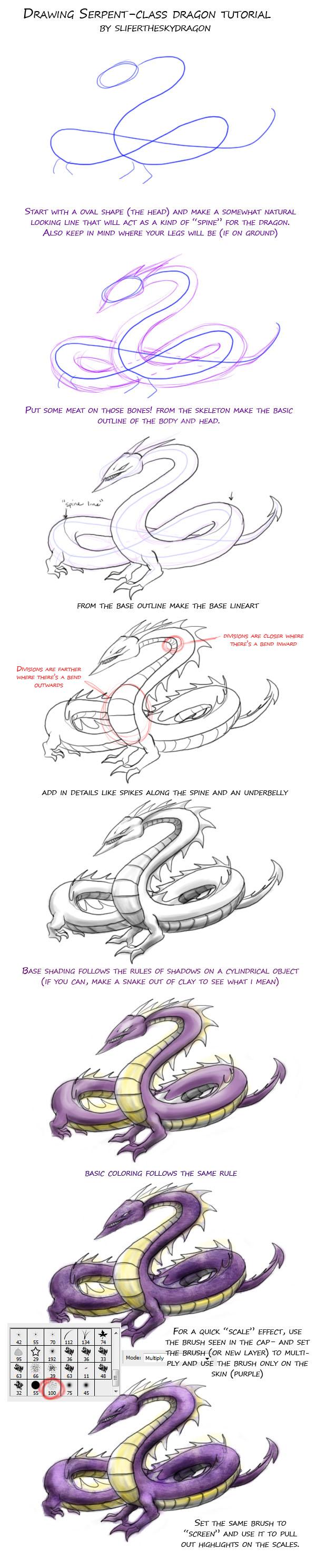 drawing snake type dragon TUT by slifertheskydragon