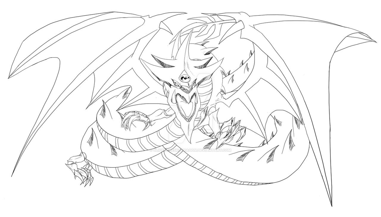 slifer the sky dragon lineart by
