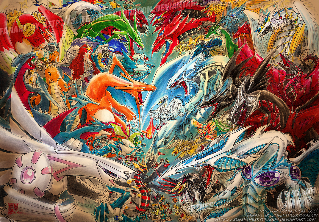 Pokemon vs Yugioh by slifertheskydragon