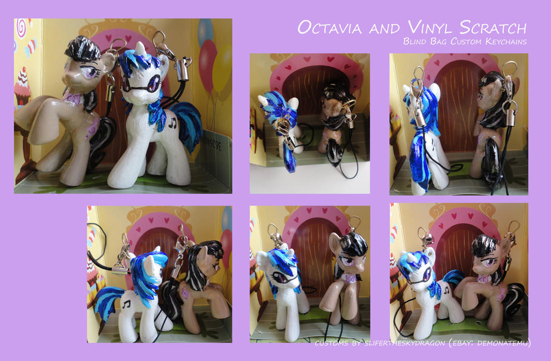 Octavia and Vinyl Scratch Blindbag Keychains by slifertheskydragon