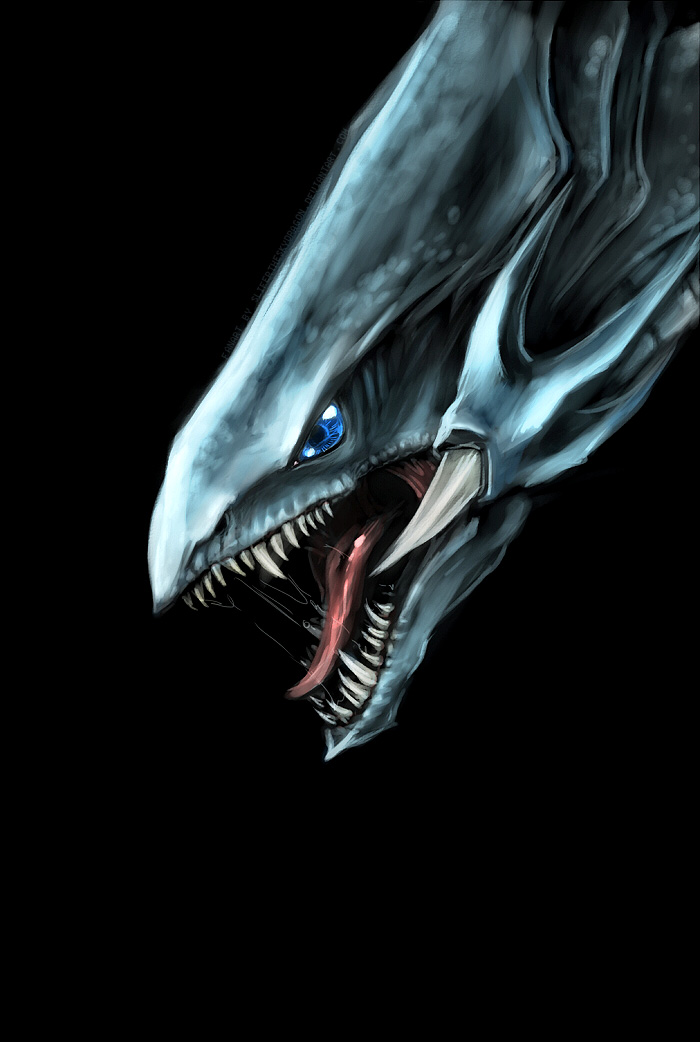 Blue Eyes White Dragon head painting by slifertheskydragon