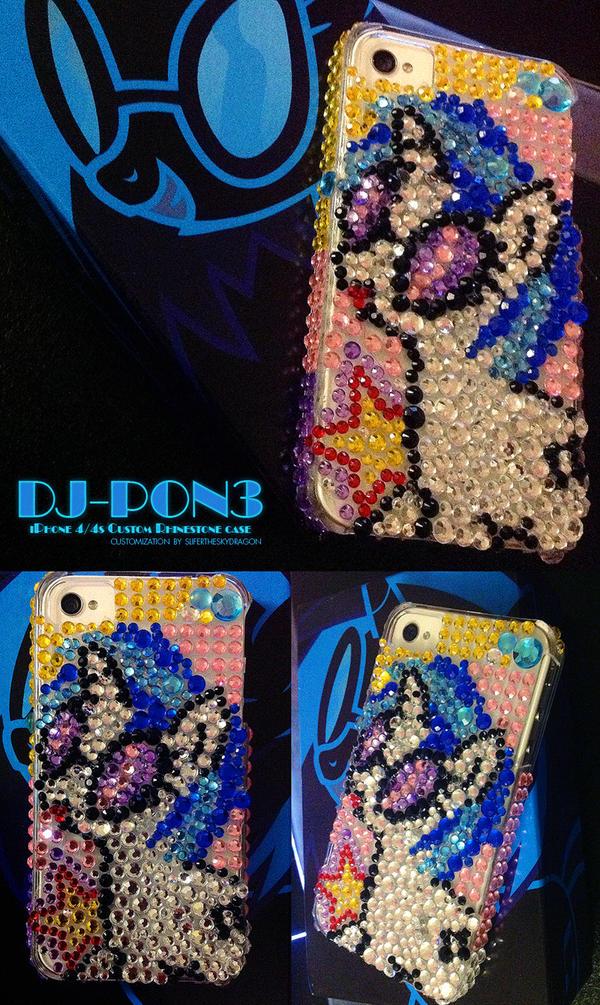 DJ-PON3 Custom iPhone Rhinestone Case by slifertheskydragon