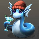 A Dratini in a beanie drinking a martini