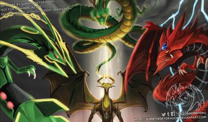 4 Gods Playmat by slifertheskydragon
