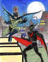 Batman Beyond v Batman by slifertheskydragon