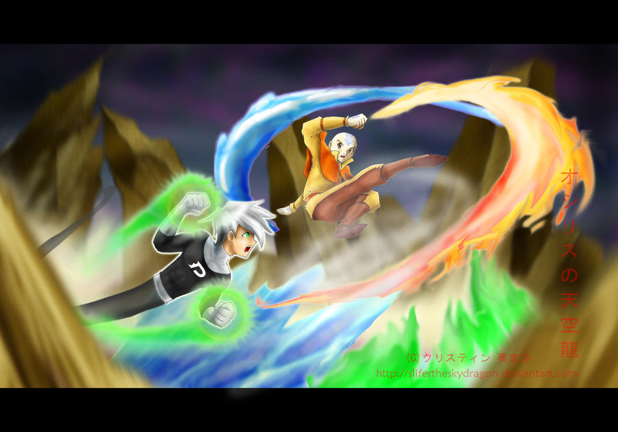Avatar Aang vs Danny Phantom by slifertheskydragon