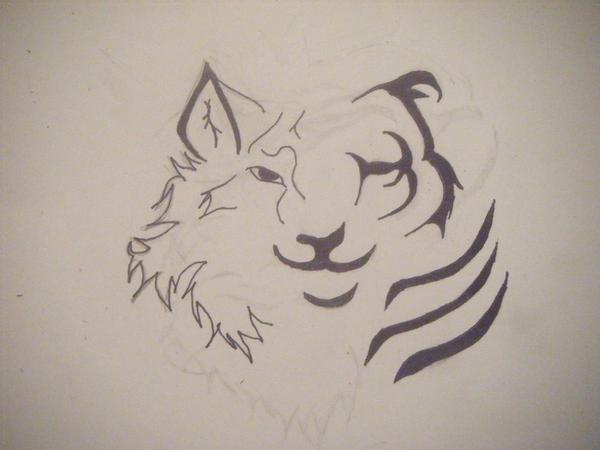 Half tiger wolf tribal tattoo by ~xToxicWolfxx on deviantART