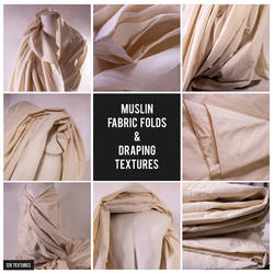MUSLIN FABRIC FOLDS AND DRAPING TEXTURES