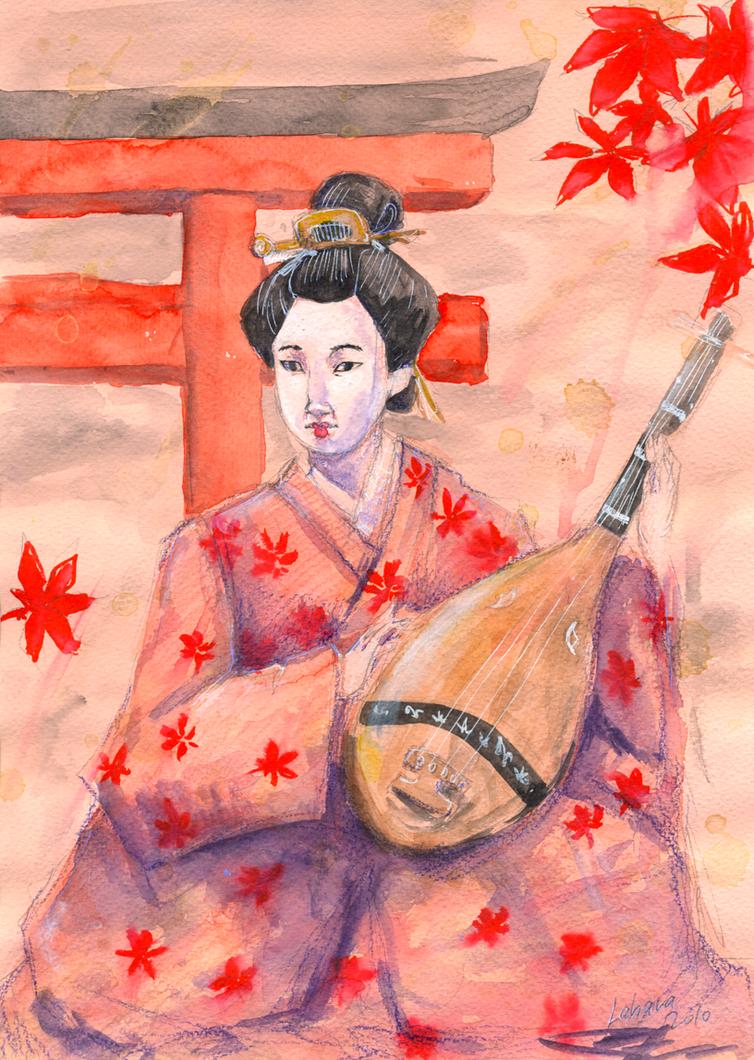Fuuko with biwa by Lahara