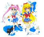 Sailor V and Prototype Moon