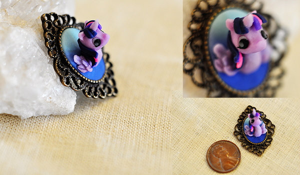 Princess Twilight Sparkle Faux Taxidermy Cameo Pin by wibblequibble