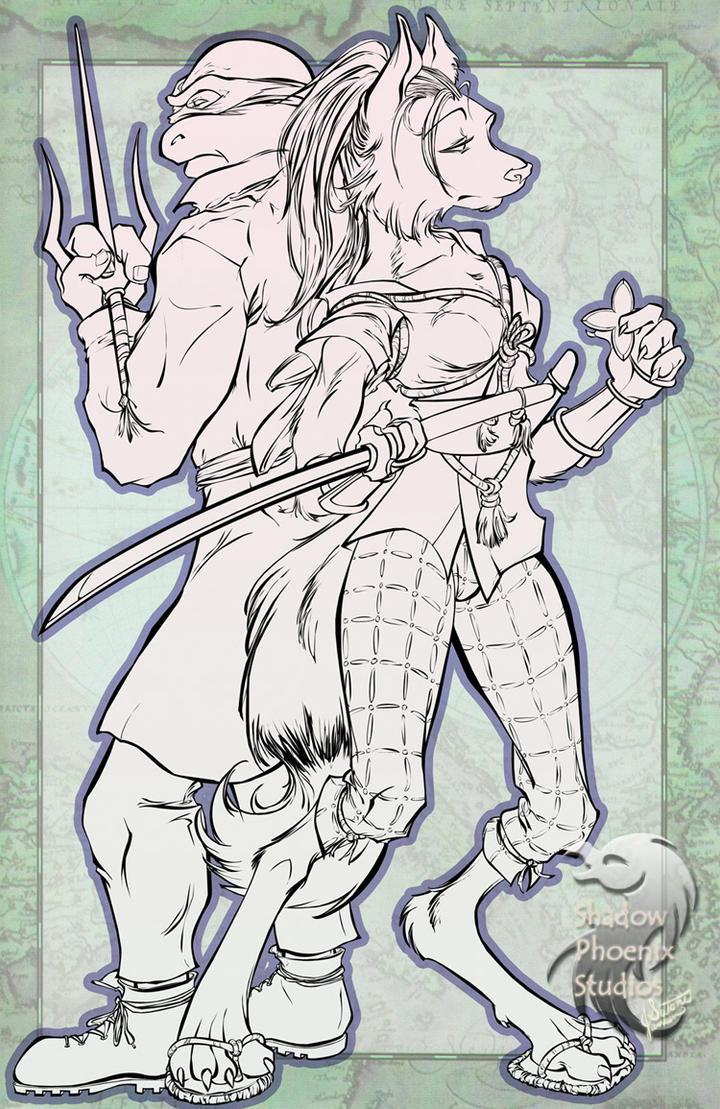 TMNT: Raphael and Ninjara by ShadowPhoenixStudios