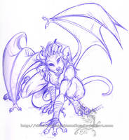 Freebie Sketch - Ocolot Gargoy by ShadowPhoenixStudios