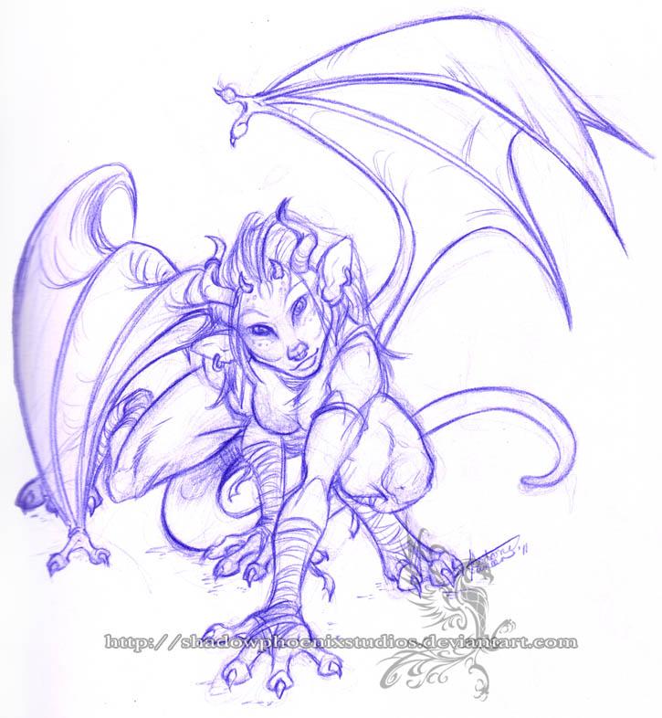 Freebie Sketch - Ocolot Gargoy by ShadowPhoenixStudios
