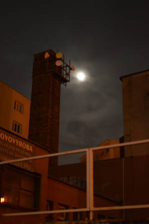Moon over city