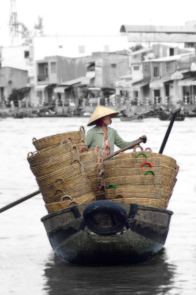 Selling basket, Vietnam by gatonegro2551