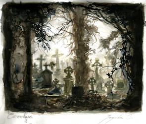 Graveyard (watercolours) by CyanBerryy