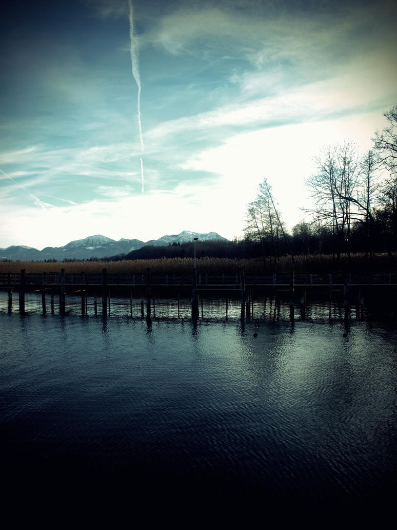 the blue lake by ebonygrey