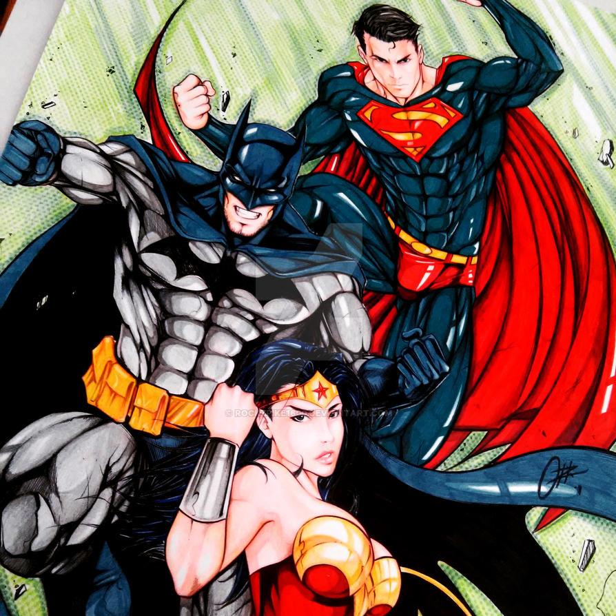 Commission Batman, Superman y Wonderwoman by rockzpike1600