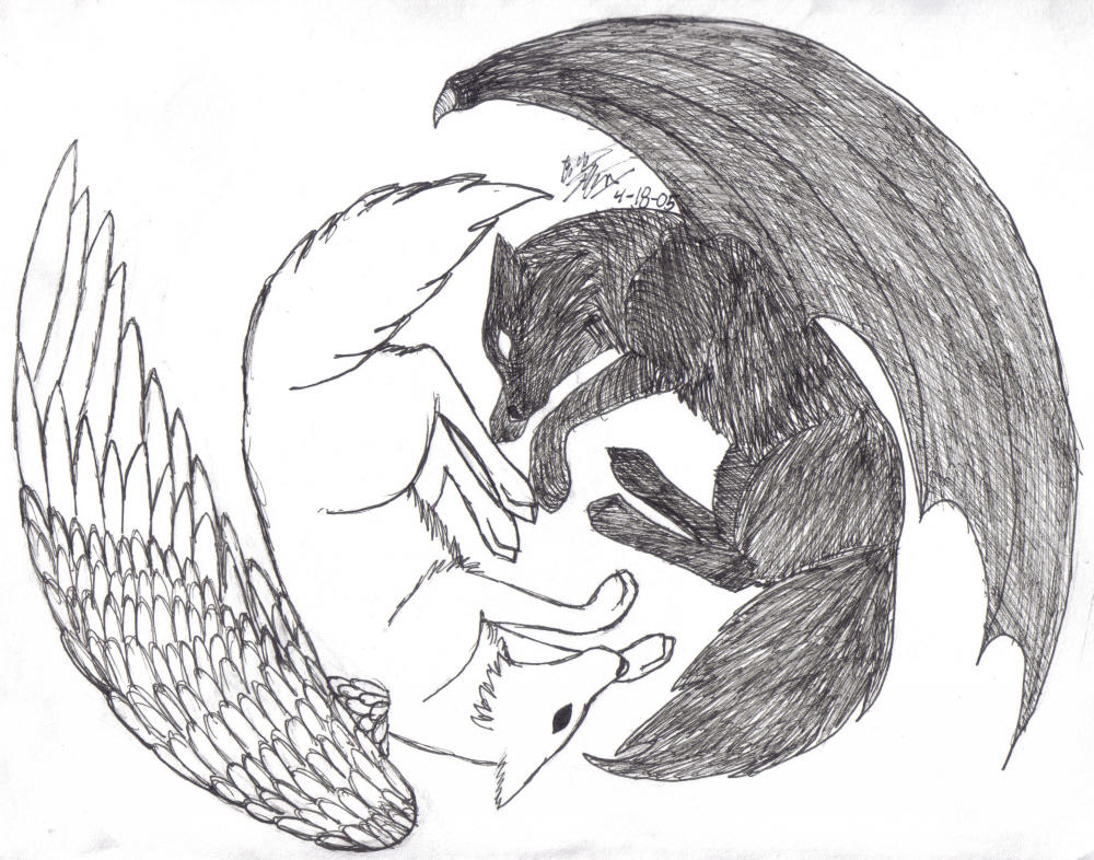 yin yang wolves redone by howling wolf