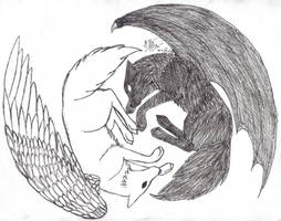 Yin Yang wolves - redone by Howling-Wolf