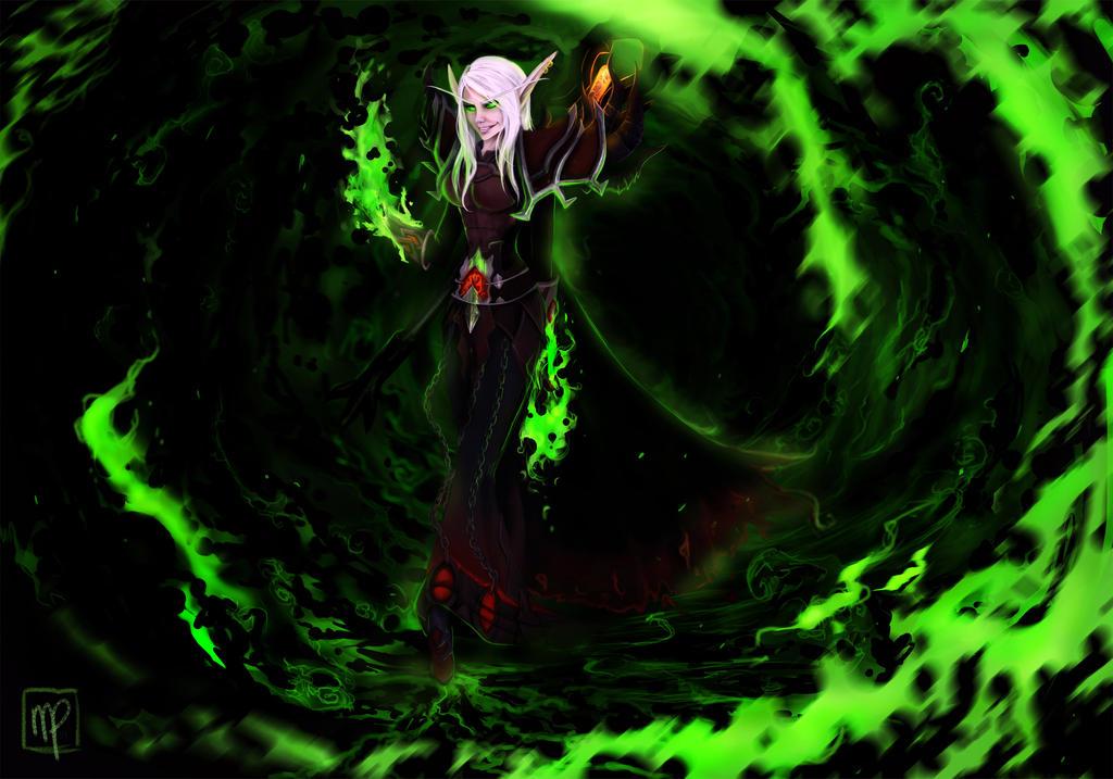Felflame Warlock by Forceyfuntime