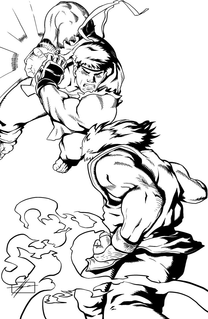 Ryu vs ken by mr akbar on deviantart for Ryu coloring pages