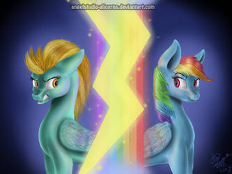 lightning dust and rainbow dash by AngelStudio-Alicorns