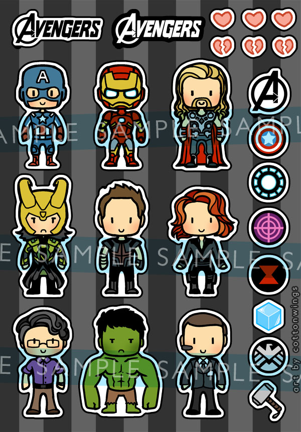 Stickers - The Avengers by cottonwings