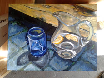Water jug and Coke glass - WIP (2) by Calucifer13