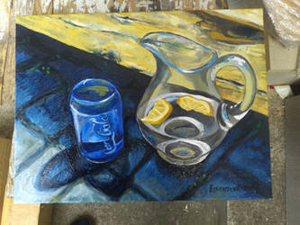 Water jug and Coke glass (finished) by Calucifer13