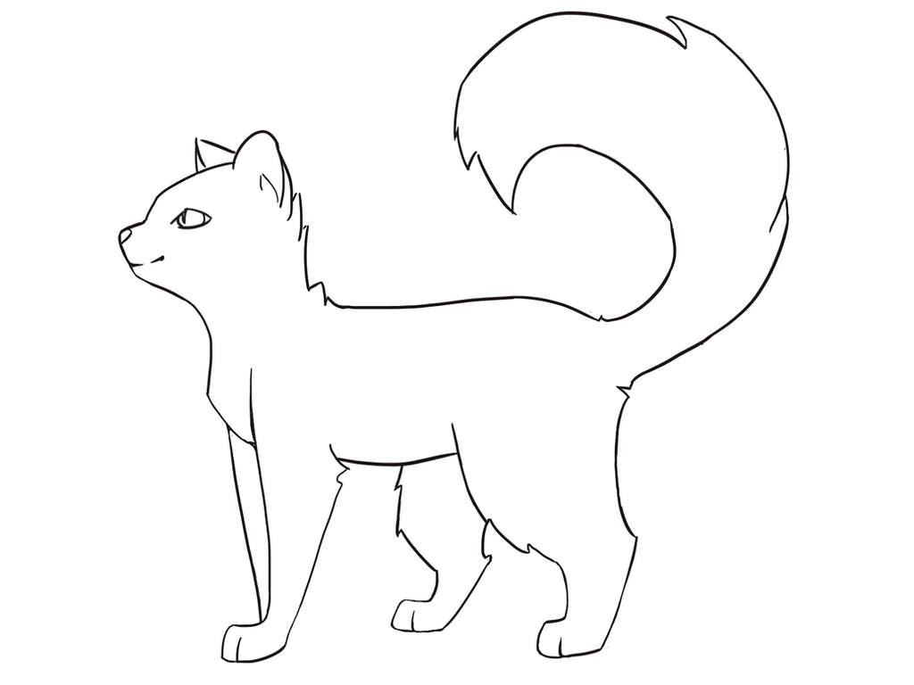 Fluffy Warrior Cat Outline