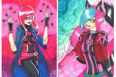 ACEO: X-Men + Gizzy and Ellan by EllanEriksson