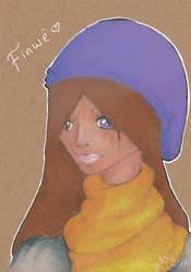 Finwe - brown paper portrait by EllanEriksson