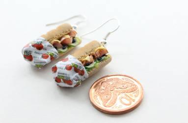 Subway Ham Sandwich Miniature Earrings by ChroniclesOfKate
