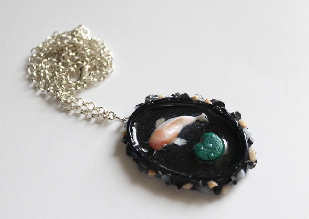 Polymer clay and resin koi fish rock pool pendant by for Resin koi fish