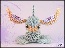 Masquerain  - 3D Origami - by Delinlea