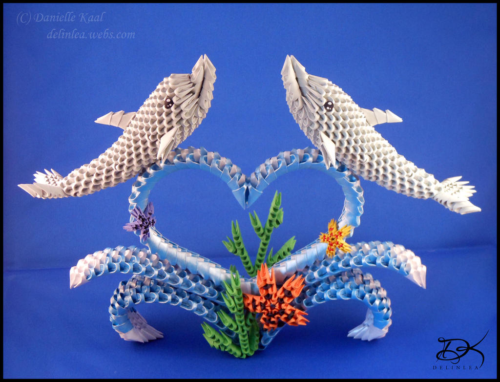 Dolphins - 3D Origami - by Delinlea on DeviantArt