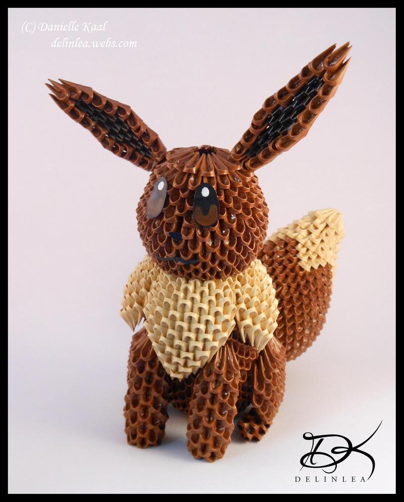 Eevee  - 3D Origami - by Delinlea