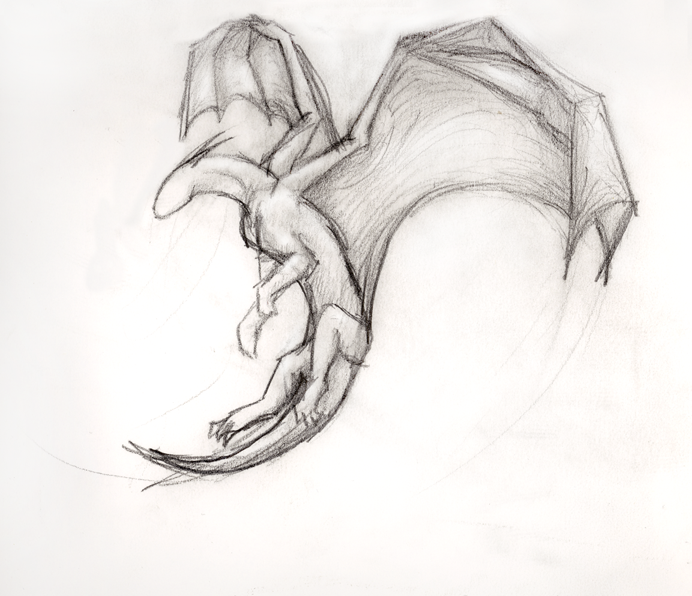Simple Dragon Drawing: Simple Flying Dragon By ThousandWordsToSay On DeviantArt