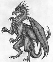 Darkened dragon by ThousandWordsToSay