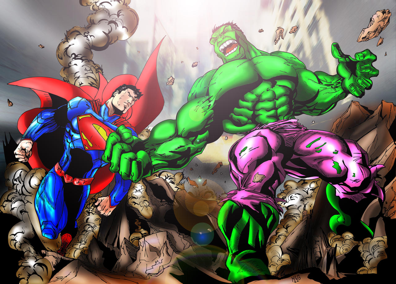 how to draw hulk and superman fighting